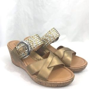 b.o.c. Born Concepts Gold Silver Wedge Sandals 9M